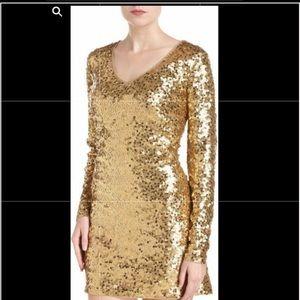 Michael Kors gold sequin mini Cocktail dress